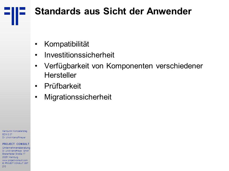 Standards aus Sicht der Anwender