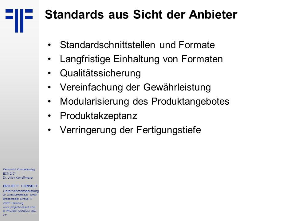 Standards aus Sicht der Anbieter