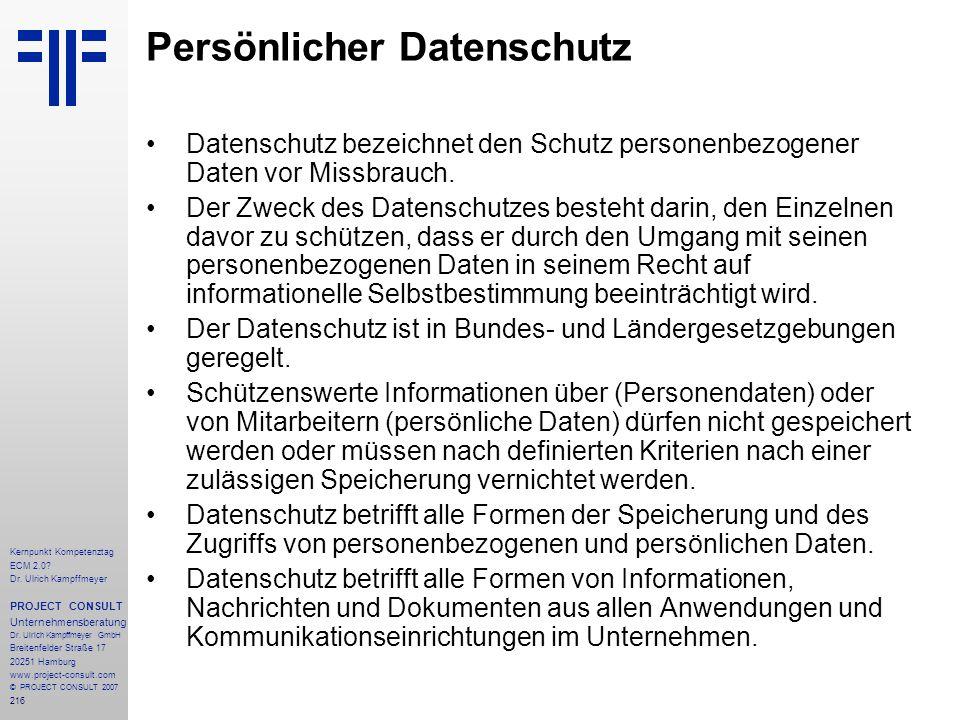 Persönlicher Datenschutz