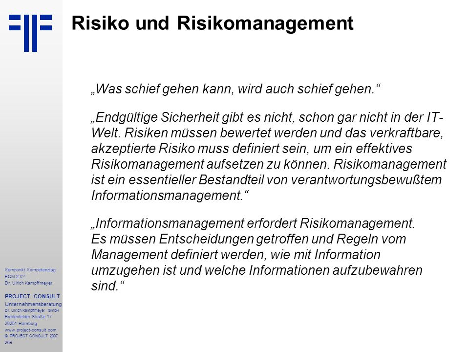 Risiko und Risikomanagement
