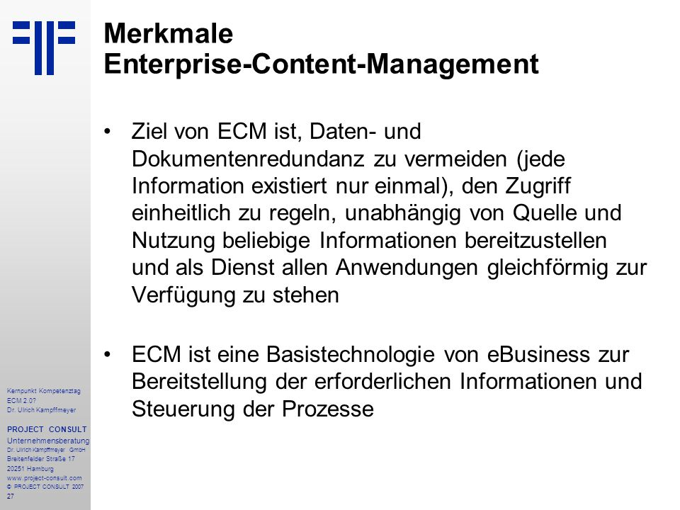 Merkmale Enterprise-Content-Management