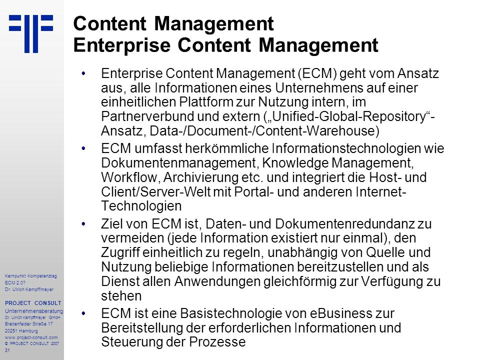 Content Management Enterprise Content Management