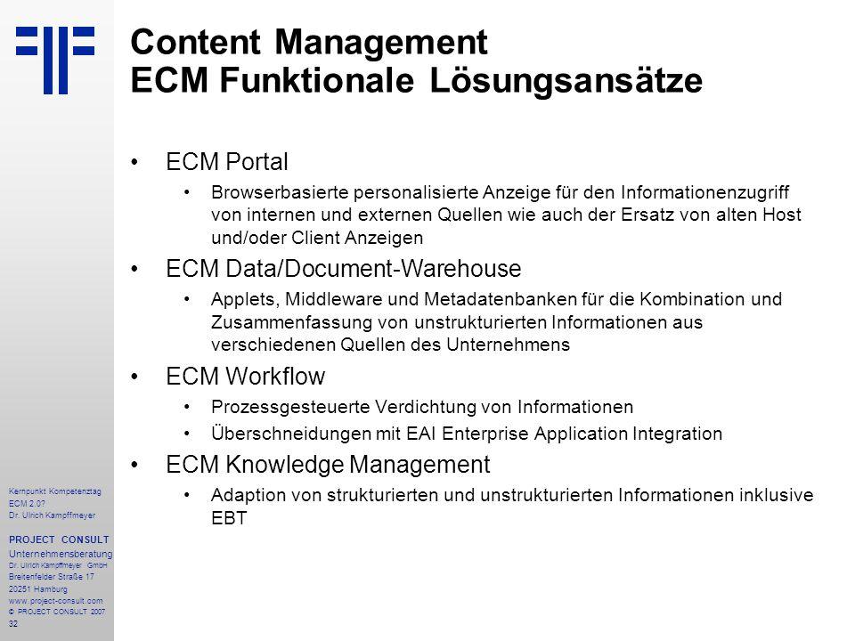 Content Management ECM Funktionale Lösungsansätze