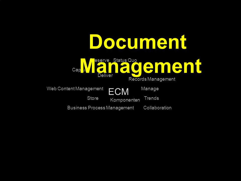 Document Management ECM Preserve Status Quo Capture Deliver