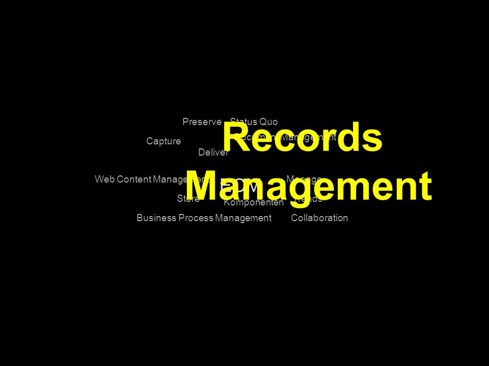 Records Management ECM Preserve Status Quo Document Management Capture