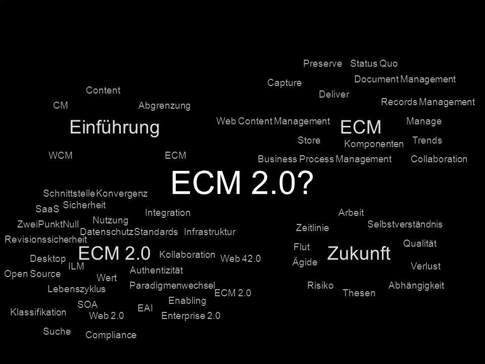 ECM 2.0 Einführung ECM ECM 2.0 Zukunft Preserve Status Quo