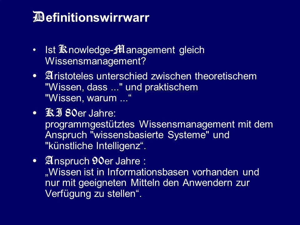 Definitionswirrwarr Ist Knowledge-Management gleich Wissensmanagement
