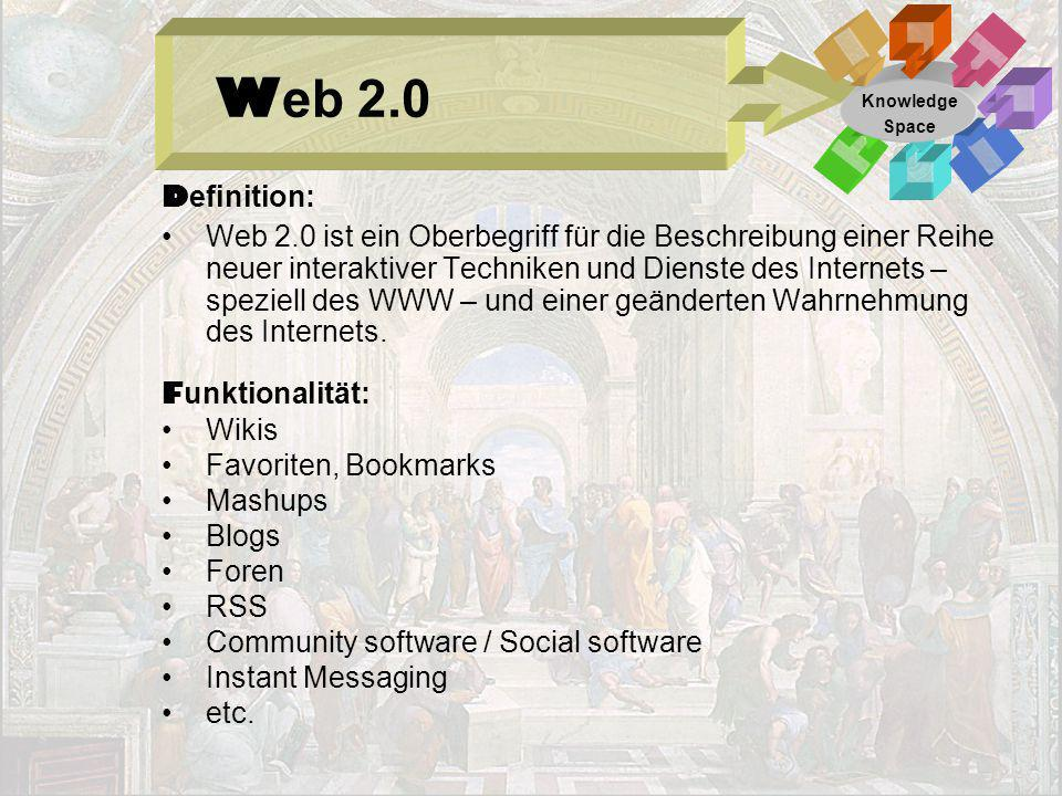 Web 2.0 Knowledge. Space. Definition: