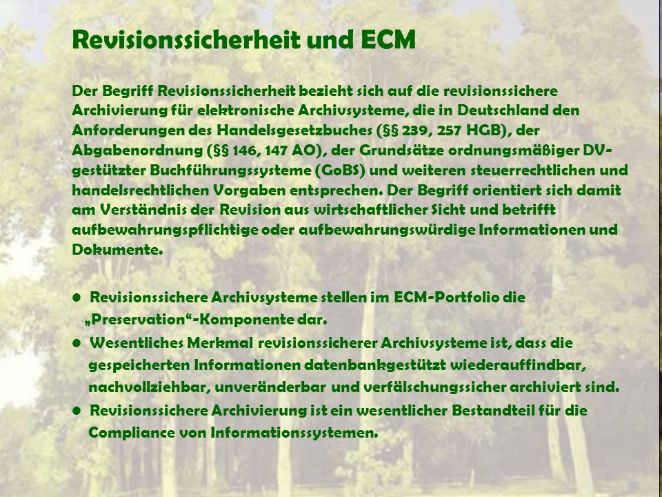 Revisionssicherheit und ECM