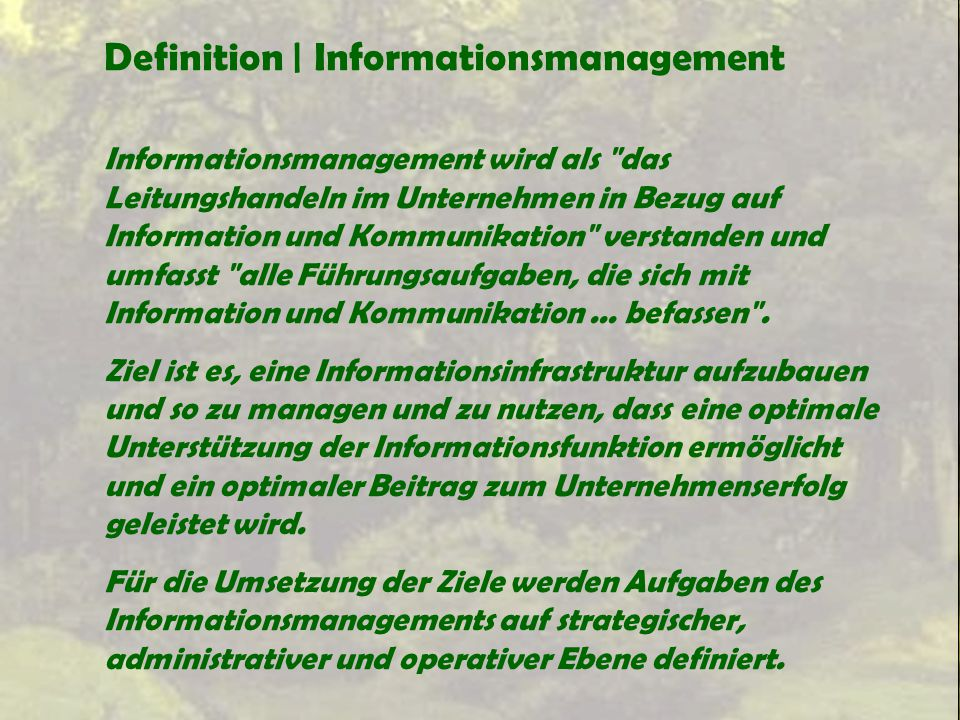 Definition | Informationsmanagement