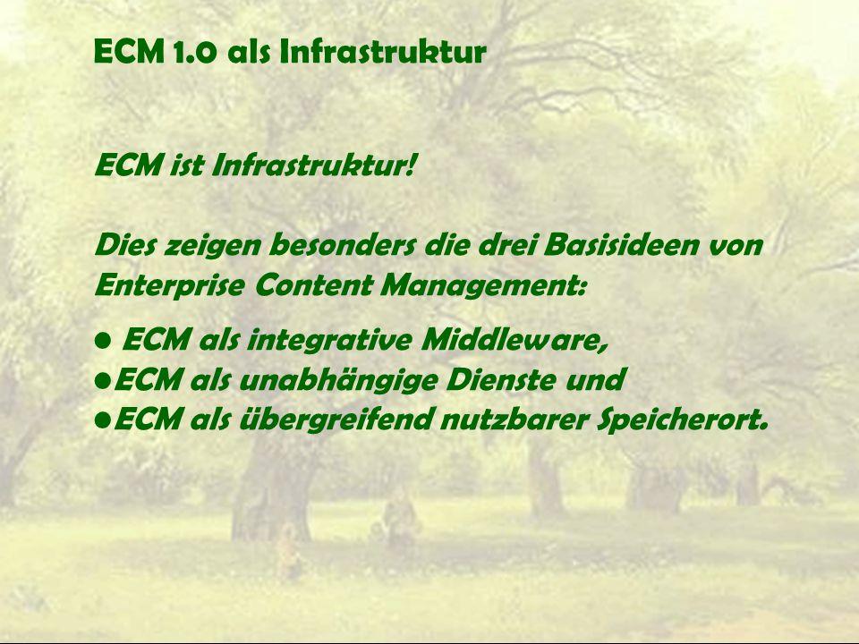 ECM 1.0 als Infrastruktur ECM ist Infrastruktur!