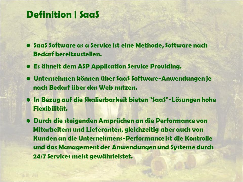Definition | SaaS SaaS Software as a Service ist eine Methode, Software nach. Bedarf bereitzustellen.