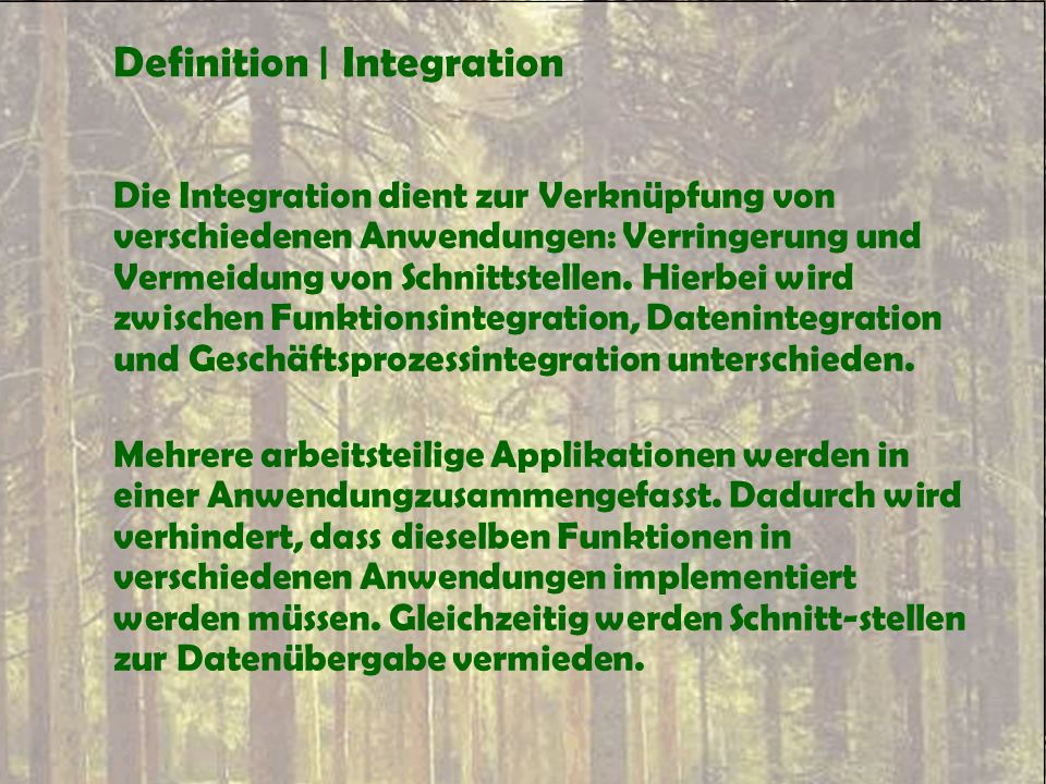 Definition | Integration
