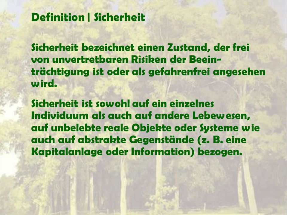 Definition | Sicherheit