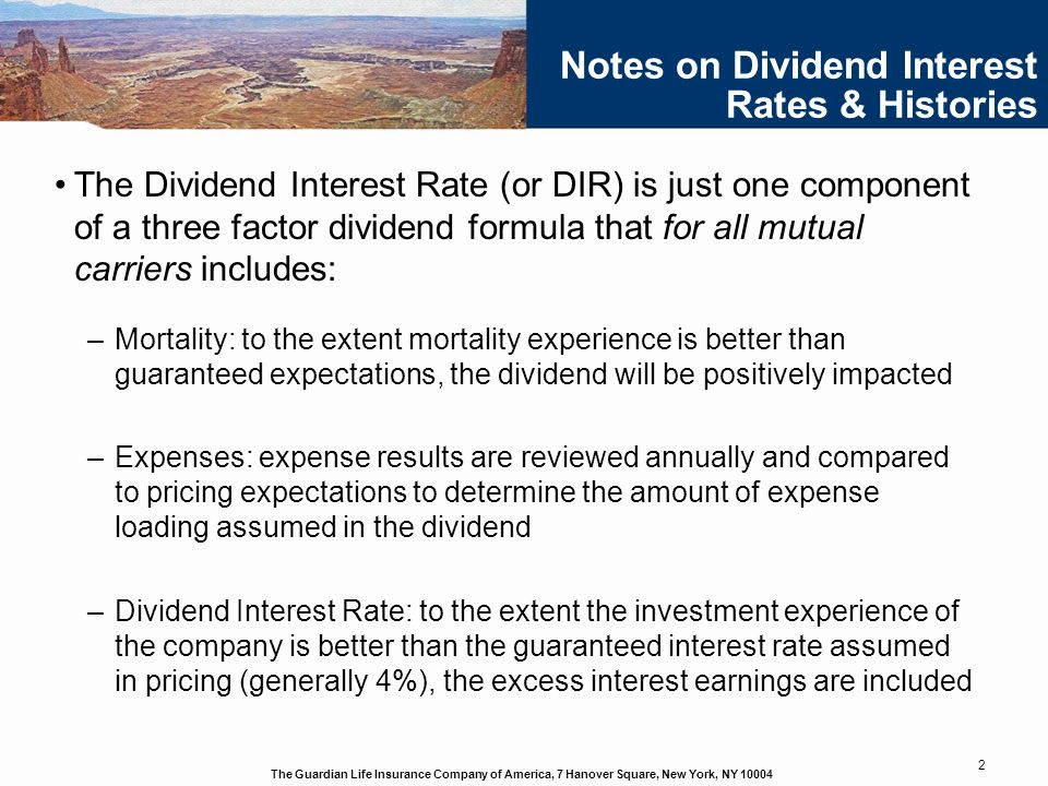 Notes on Dividend Interest Rates & Histories