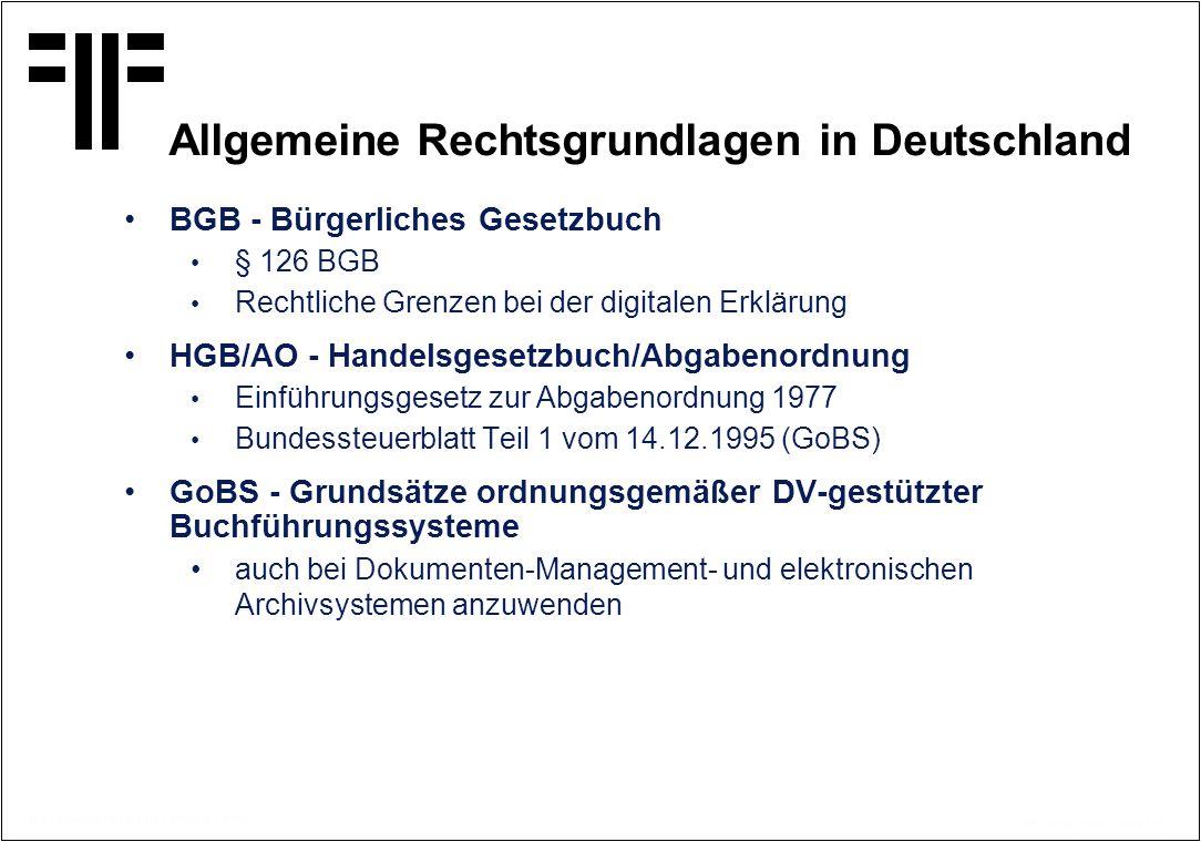 Allgemeine Rechtsgrundlagen in Deutschland