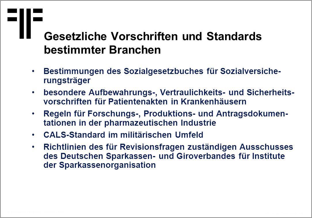 Gesetzliche Vorschriften und Standards bestimmter Branchen