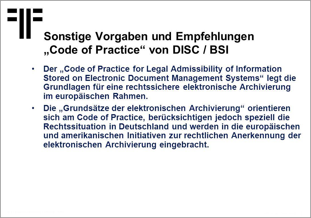 """Sonstige Vorgaben und Empfehlungen """"Code of Practice von DISC / BSI"""