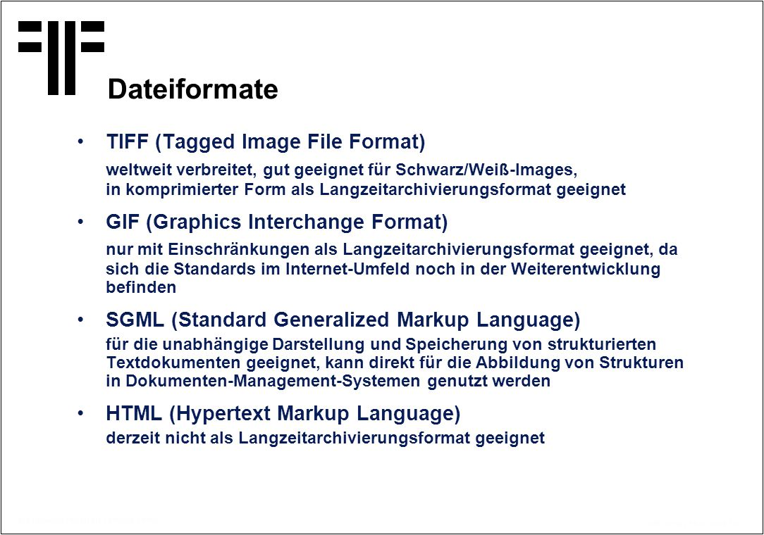 Dateiformate TIFF (Tagged Image File Format)