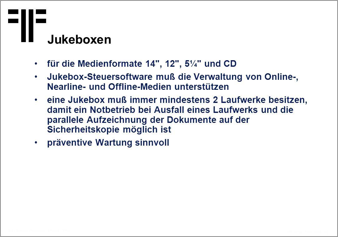Jukeboxen für die Medienformate 14 , 12 , 5¼ und CD