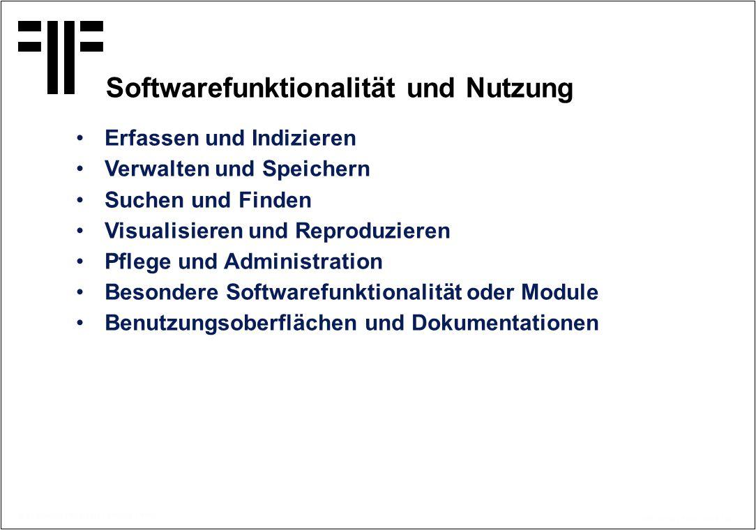 Softwarefunktionalität und Nutzung