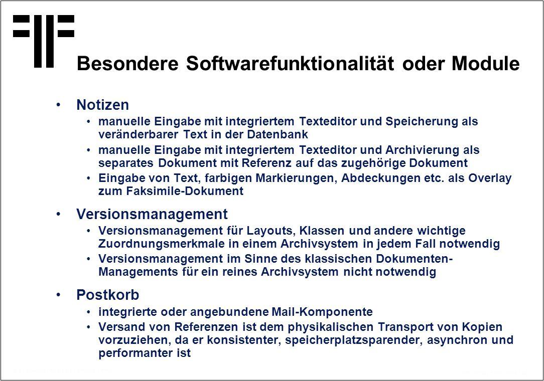 Besondere Softwarefunktionalität oder Module
