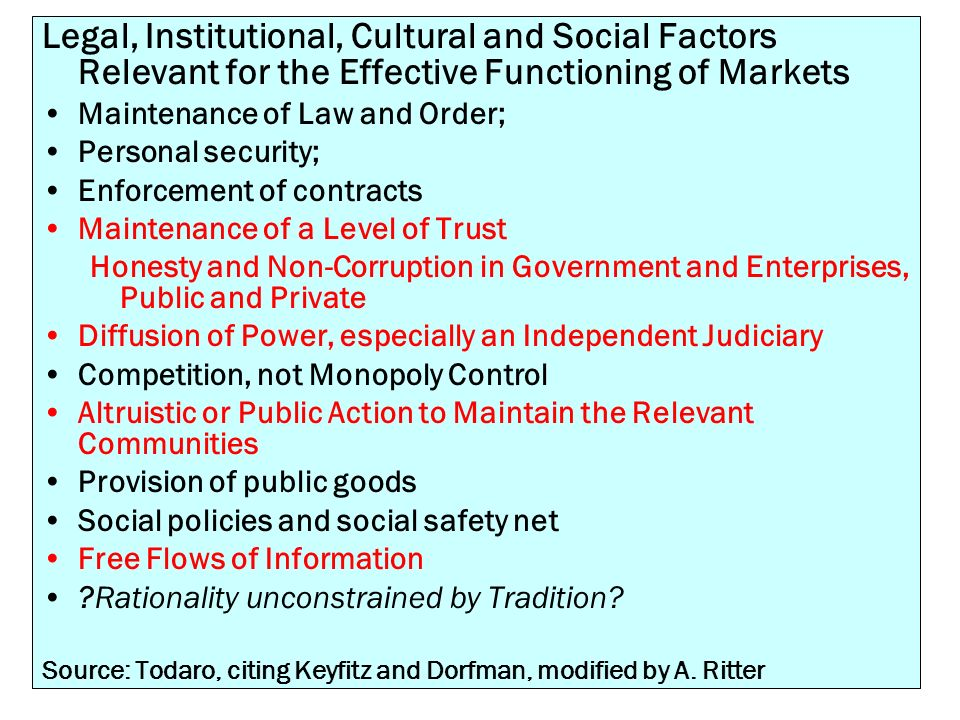 Legal, Institutional, Cultural and Social Factors Relevant for the Effective Functioning of Markets