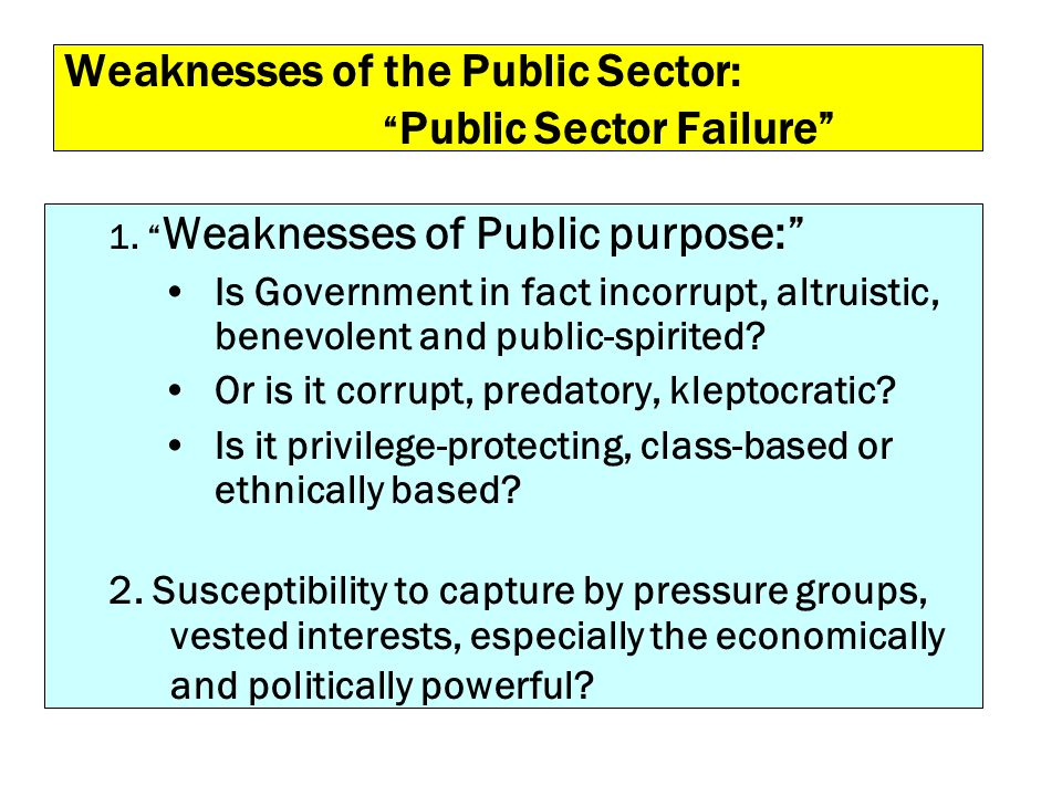 Weaknesses of the Public Sector: Public Sector Failure