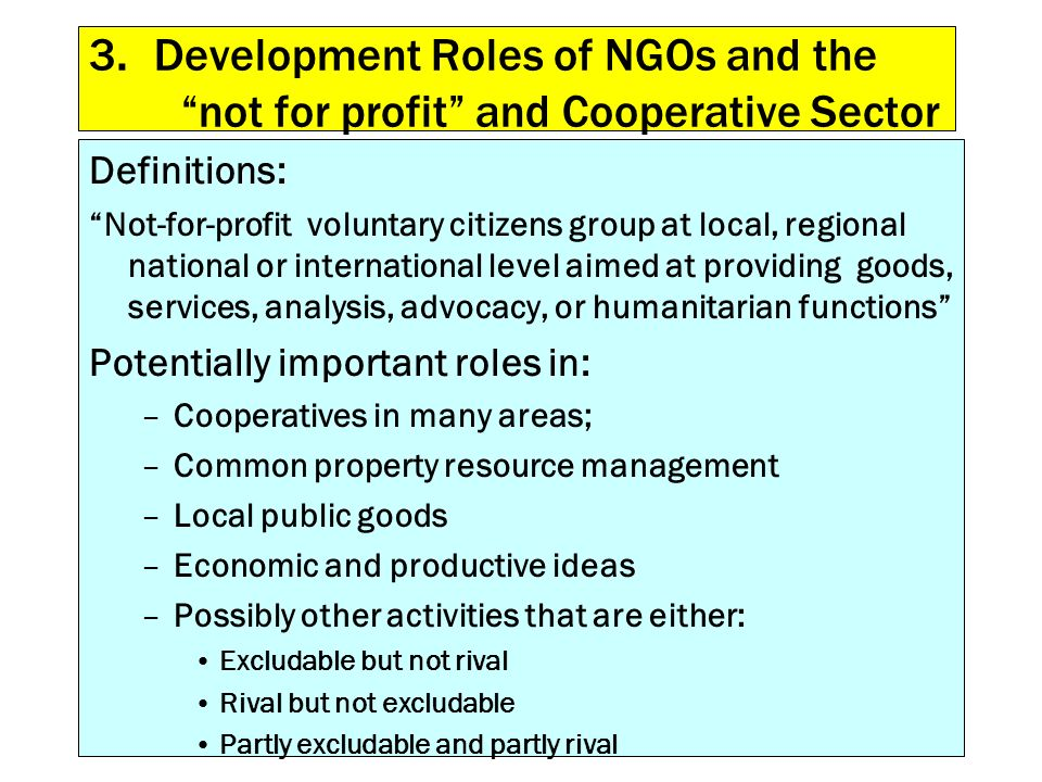 3. Development Roles of NGOs and the not for profit and Cooperative Sector