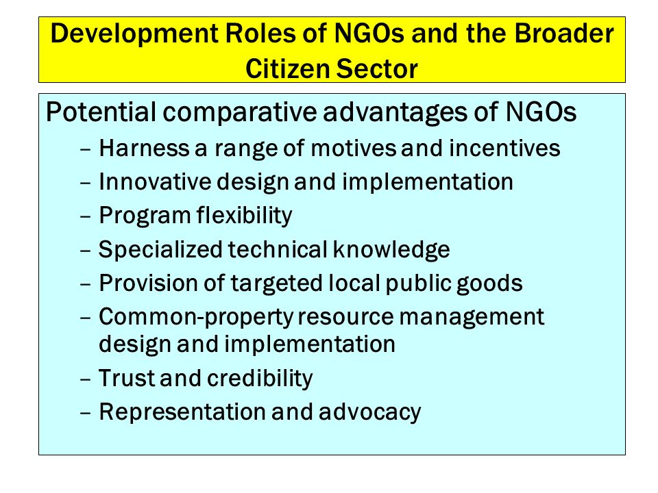 Development Roles of NGOs and the Broader Citizen Sector