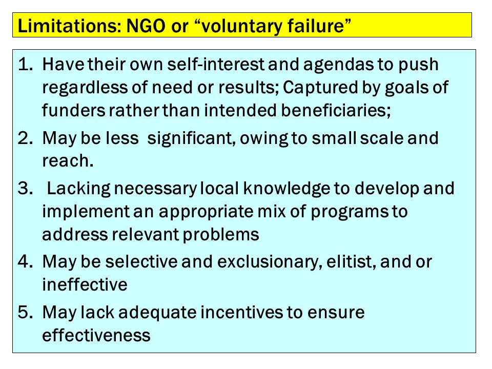 Limitations: NGO or voluntary failure