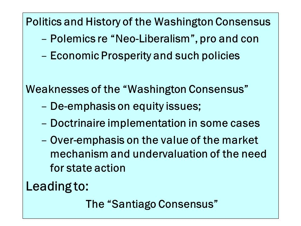 Leading to: Politics and History of the Washington Consensus