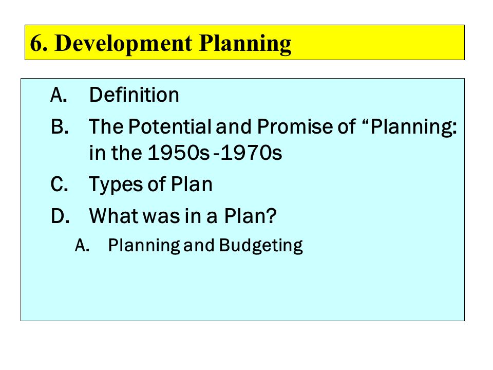 6. Development Planning Definition