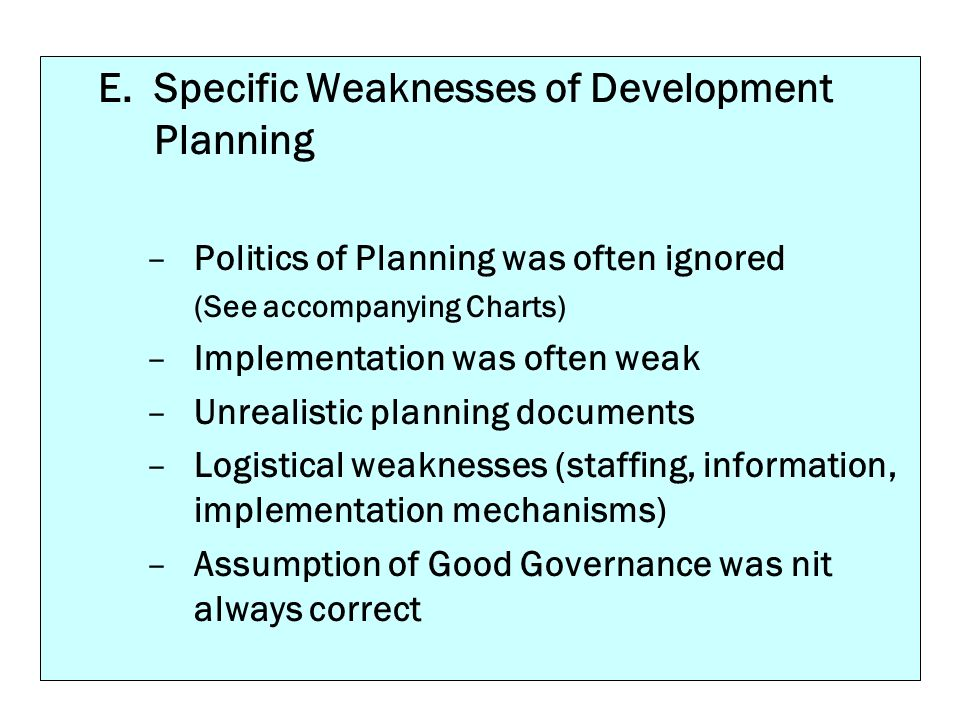 Specific Weaknesses of Development Planning