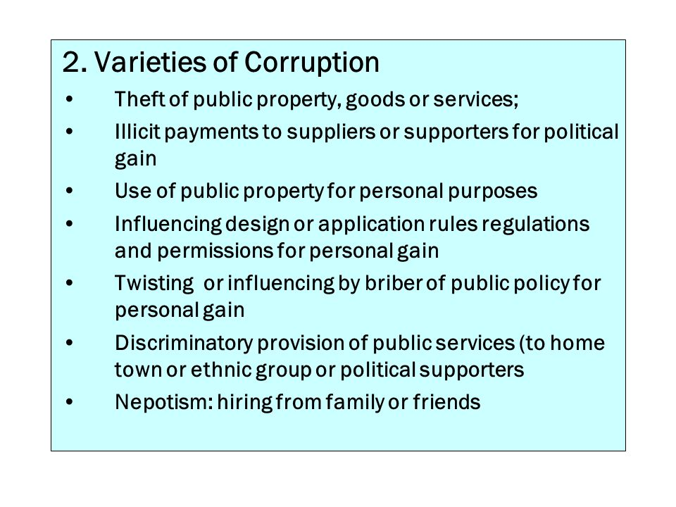 2. Varieties of Corruption