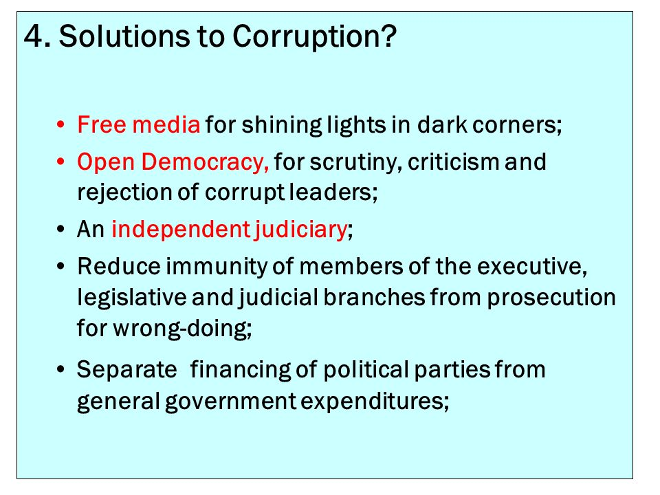 4. Solutions to Corruption