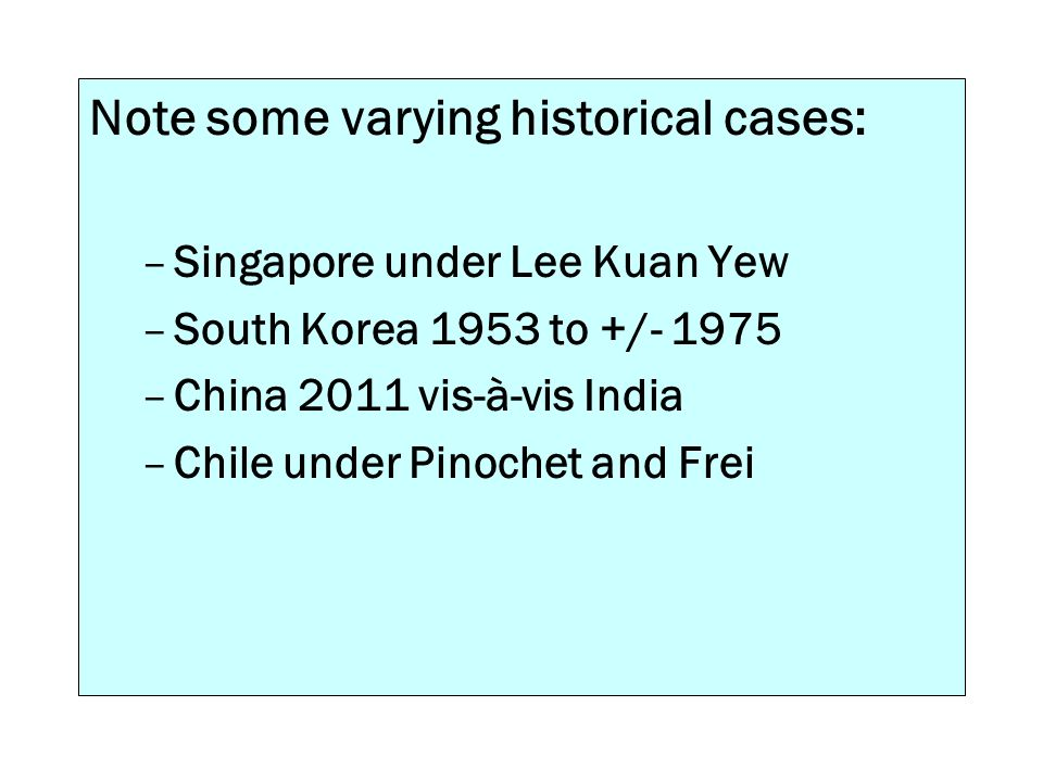 Note some varying historical cases: