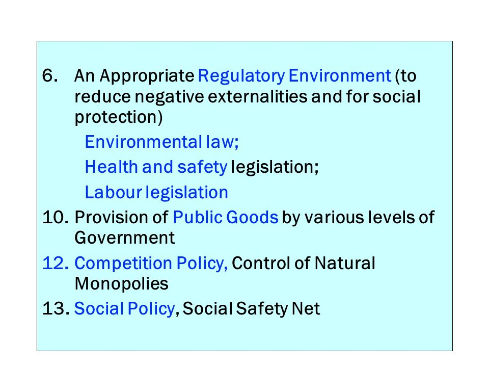 6. An Appropriate Regulatory Environment (to reduce negative externalities and for social protection)