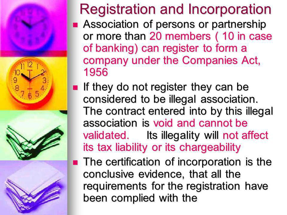 Registration and Incorporation
