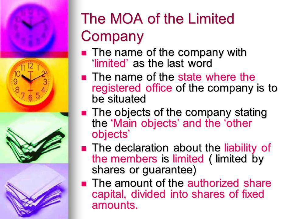 The MOA of the Limited Company