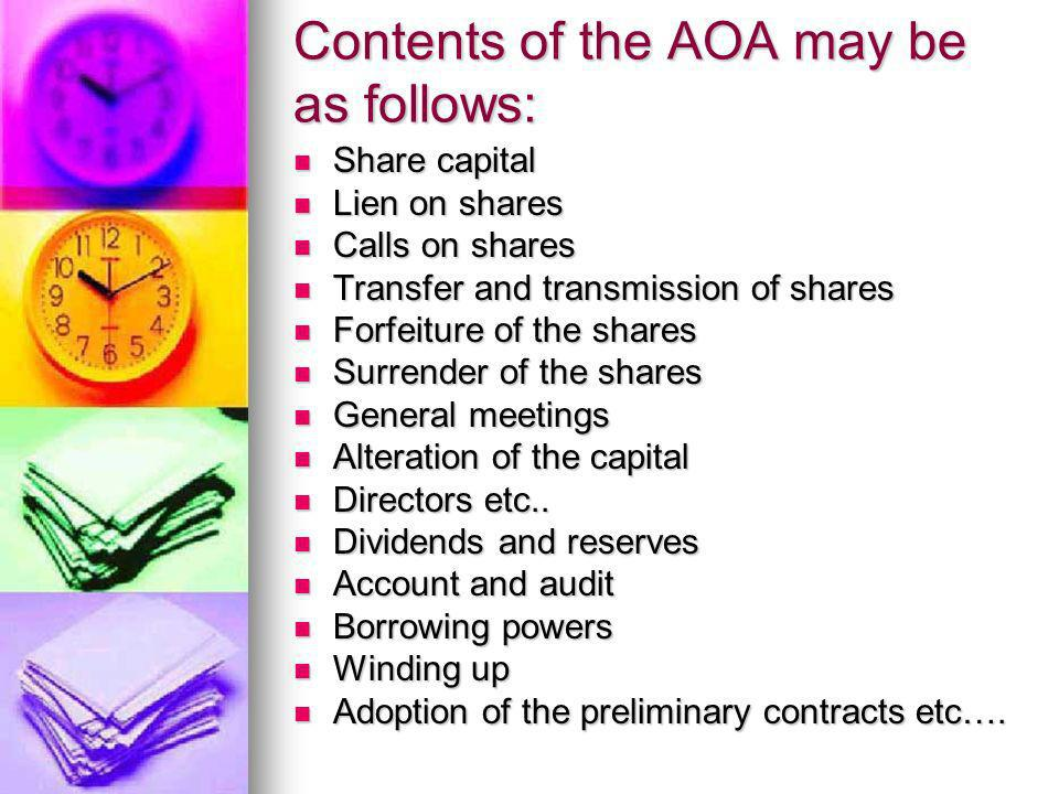 Contents of the AOA may be as follows: