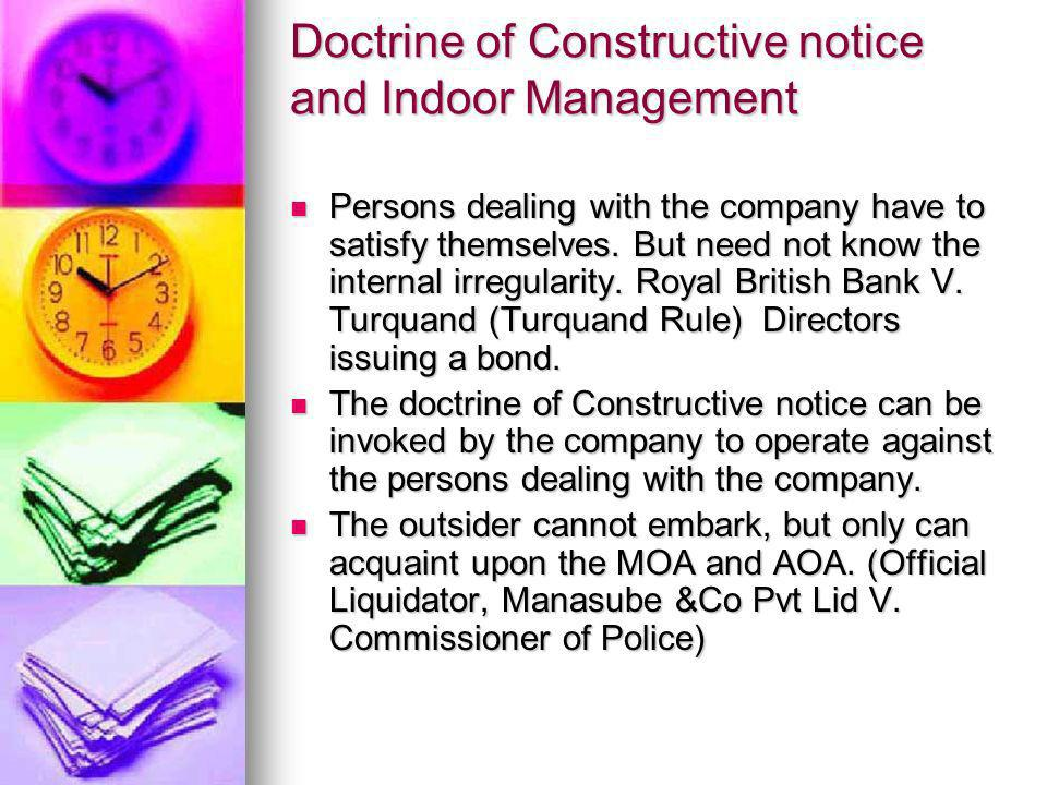Doctrine of Constructive notice and Indoor Management