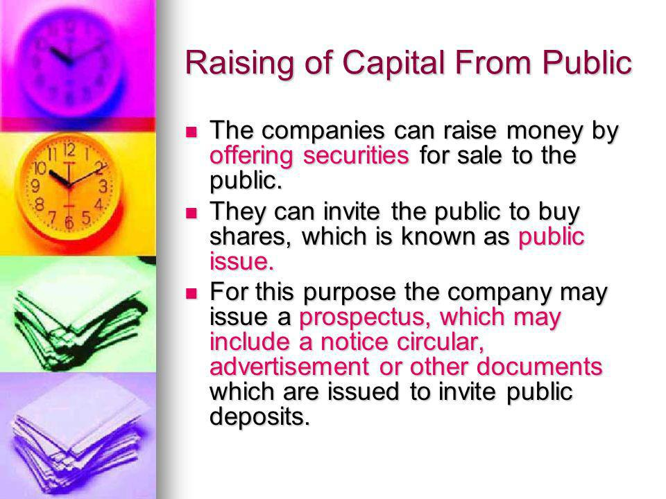Raising of Capital From Public