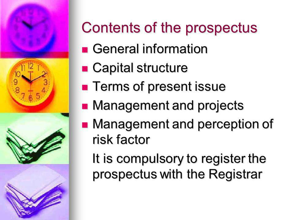 Contents of the prospectus