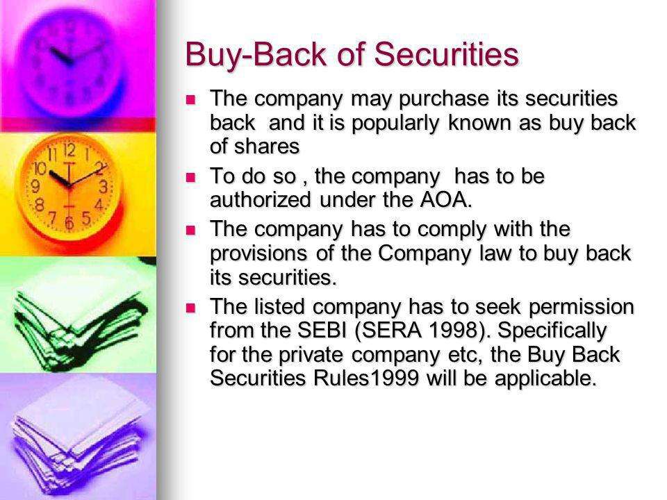 Buy-Back of Securities