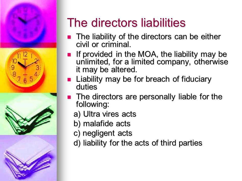 The directors liabilities