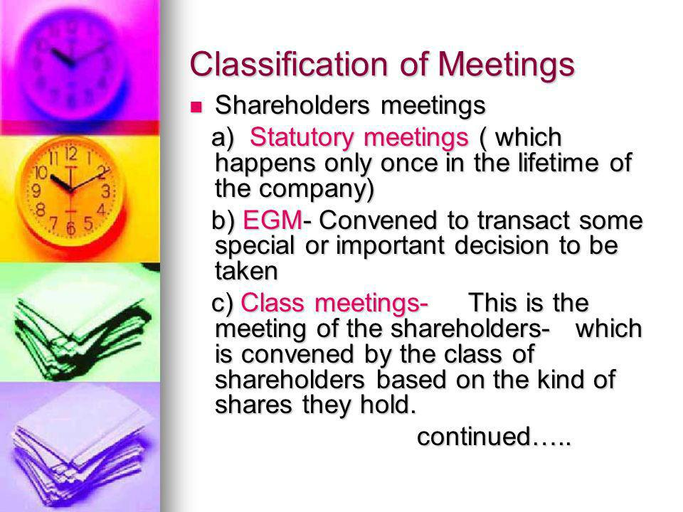 Classification of Meetings