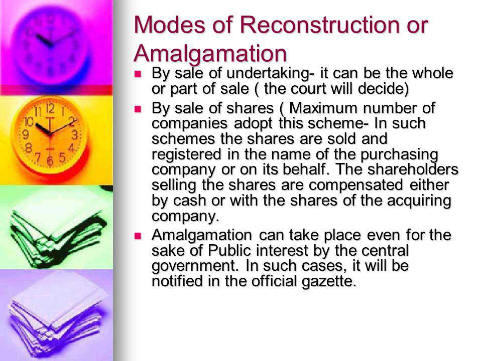 Modes of Reconstruction or Amalgamation