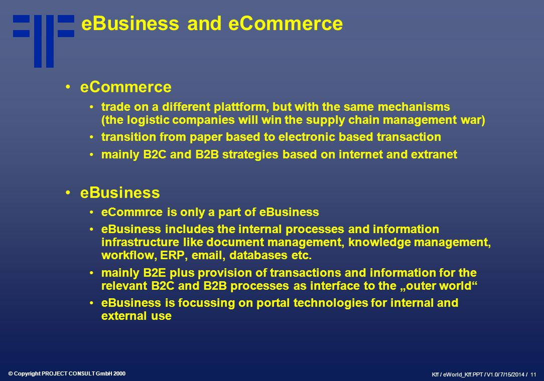 eBusiness and eCommerce