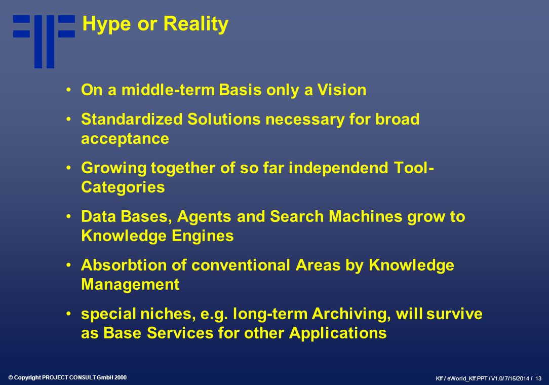 Hype or Reality On a middle-term Basis only a Vision